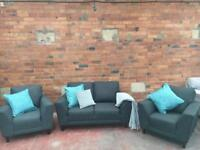 Harvey's New Graphite Grey Suite - 2 Seater Sofa & 2 Armchairs - Can Deliver