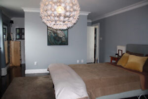 Modern Upholstered Queen Bed and Headboard