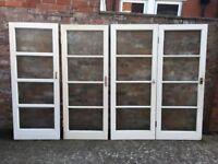 SALVAGE GLAZED DOORS X 4 RETRO VINTAGE