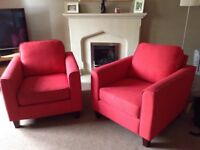 Free-two red John Lewis armchairs-taker must collect.