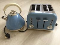 Morphy Richards - Cornflower Blue 'Accents' retro 4 slice toaster and Kettle
