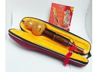 Hulusi Gourd Chinese Woodwind Musical Instrument Bamboo Flute Original Case with Shoulder Strap