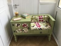 Shabby chic telephone table vintage upcycled with pale Sage chalk paint