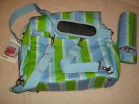 ANNA & SALLY BABY CHANGING NAPPY BAG DESIGNER CHIC GREEN BLUE UNISEX BRAND NEW UNUSED
