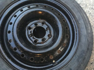 Two 195/55 R15 Dunlop winter tires on universal steel rims