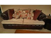 Chesterfield leather and fabric 3 peice suite sofa and arm chairs