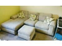 Corner Sofa Bed in beige with memory foam mattress
