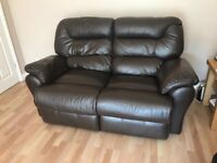 Electric reclining leather armchair and reclining leather sofa