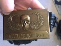 Death from Above vintage belt buckle, airborn, army, biker, gothic, mens, brass