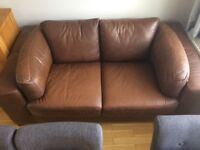 Brown leather, large 2 seater sofa