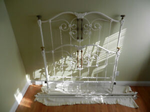 Solid Double Antique bed and rails.