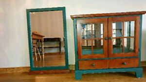 Cabinet glass door 2 drawer with mirror.