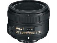 Nikon AF-S 50mm f/1.8G Lens. Mint condition.