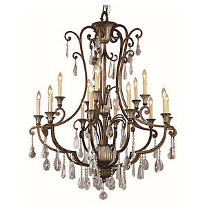 3 matching crystal and hand-worked iron chandeliers