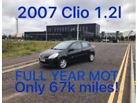 67k miles! £1375 2007 Renault Clio 1.2l* like fiesta punto yaris micra corsa c1 aygo 107 getz polo