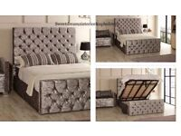 DOUBLE CRUSHED VELVET STORAGE BED FRAME WITH OTTOMAN GAS LIFT UP WITH CHOICE OF MATTRESSES