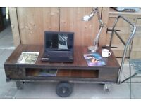 VINTAGE INDUSTRIAL PLATFORM RAILWAY TROLLEY REFURBISHED STORAGE COFFEE TABLE STORAGE UNIT CHIC