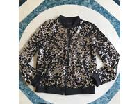 Brand new sliver/ black sequins jacket