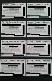 SATURDAY 16/9/2017 16th September Alton towers tickets