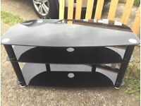 TV Stand - Black Glass. Excellent Condition