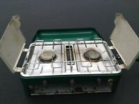 Camping Cooker with Grill and 2 Hobs and Regulator For Leisure