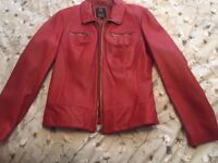 Genuine striking red leather 1980s zip blouson jacket