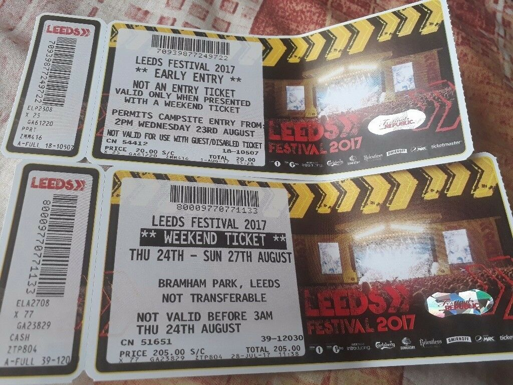 Leeds festival 2017 early entry and weekend ticketin Denton, ManchesterGumtree - 1x leeds festival ticket. Early entry from 2pm Wednesday 23rd August and weekend ticket from Thursday 24th Sunday 27th August