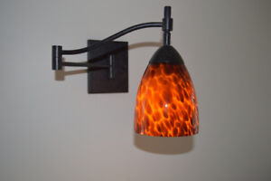 Two Hand Blown Glass Wall Sconces