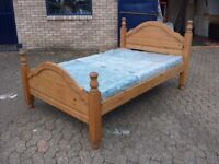 solid pine 4 foot wide small double bed frame and clean mattress
