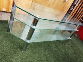 Toughened 3 tier glass TV stand