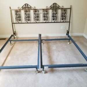 KING SIZE BED FRAME WITH METAL HEADBOARD