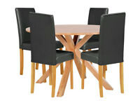 Memphis Round Dining Table & 4 Midback Chairs - Black
