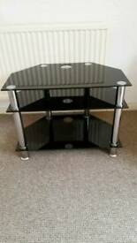 TV Glass Table 3 shelves in Black VGC
