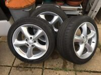 Three Mercedes wheels and tyres