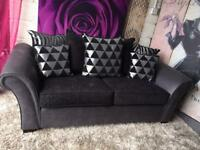 New 3 Seater Chenille Fabric And Faux Leather Sofa in Slate Grey and Black