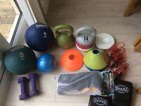 Various , Medicine Ball, Kettlebells, Boxing Gloves, cones, agility ladder