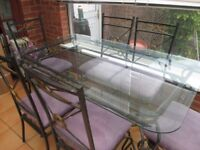 wrought iron glass top dining table 6 chairs