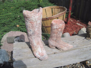 2 Hand Crafted Stone Plaster Cowboy Boots Decor