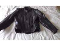 Leather motorbike jacket - black - chest 42 inches.