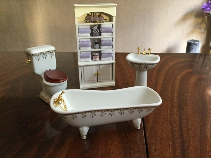 Bathroom furniture for dolls housein Washington, Tyne and WearGumtree - Includes ceramic sink, toilet and bath with a bathroom cabinet that has towels. Bath has a a slight chip in one of the feet but still stands up