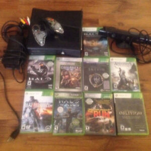 Xbox 360 Kinect + 2 controllers + 9 games