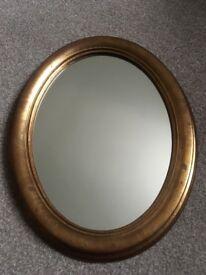 Oval mirror, gilt frame, 48cms x 38cms, Perfect condition
