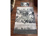 George Home Limitless grey mountain scene duvet set, size single