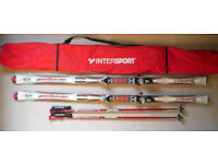 Rossignol Bandit skis Dualtec 191 cm, Salomon 850 bindings, R602 poles, Intersport carry bag