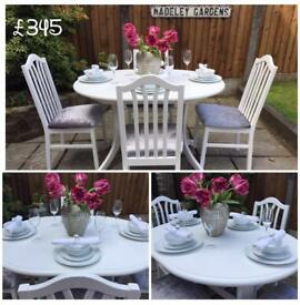 EXTENDING TABLE & 4 CHAIRS ~ WHITE & GREY CRUSHED VELVET ~ SHABBY CHIC VINTAGE
