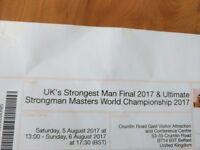 2 tickets UK's strongest man Final 2017 & Strongman Masters World Championship 2017