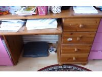 Original Real Pine Wood Computer Desk Home Office Study with 4 Drawers