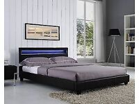 Faux leather double bed, LED lights