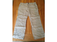 "Next Men's Stone Linen Trousers (36""R) (never worn) JUST REDUCED"
