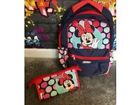 Minnie Mouse backpack & matching toiletries bag in excellent condition